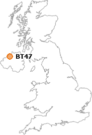 map showing location of BT47