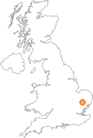 map showing location of Bury St Edmunds, Suffolk