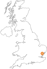 map showing location of Coggeshall, Essex