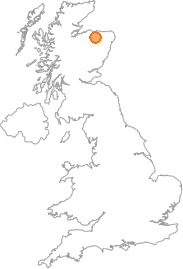 map showing location of Crannach, Moray