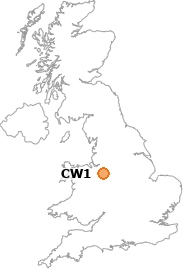 map showing location of CW1