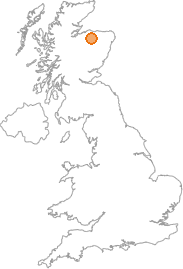 map showing location of Dandaleith, Moray