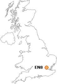 map showing location of EN8