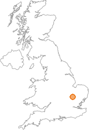 map showing location of Great Eversden, Cambridgeshire