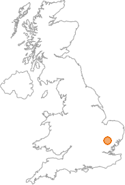 map showing location of Great Thurlow, Suffolk