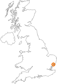 map showing location of Harkstead, Suffolk