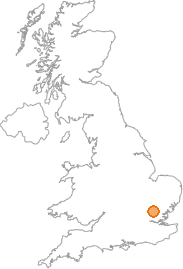 map showing location of Henham, Essex