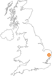 map showing location of Horham, Suffolk
