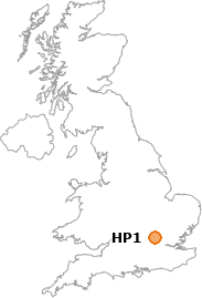 map showing location of HP1