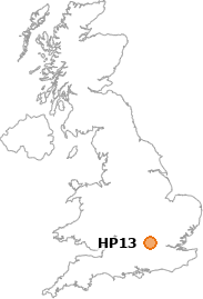 map showing location of HP13