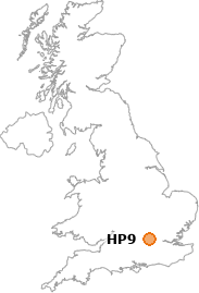map showing location of HP9