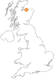 map showing location of Kellas, Moray