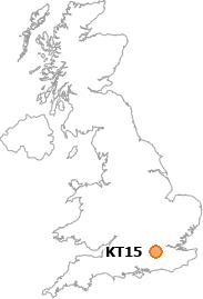 map showing location of KT15