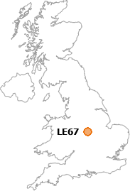 map showing location of LE67