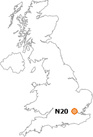 map showing location of N20