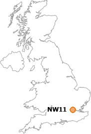 map showing location of NW11