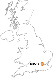 map showing location of NW3