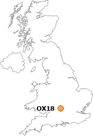 map showing location of OX18