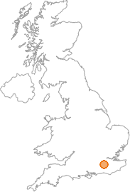 map showing location of Reigate, Surrey