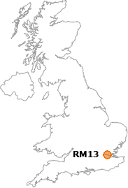 map showing location of RM13