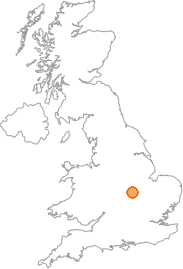 map showing location of Rockingham, Northamptonshire
