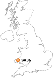 map showing location of SA36