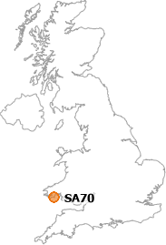 map showing location of SA70