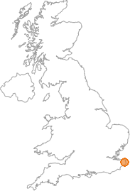 map showing location of Sandwich, Kent