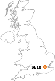 map showing location of SE10
