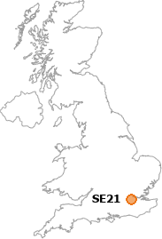 map showing location of SE21