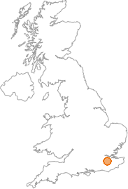 map showing location of Sevenoaks, Kent