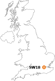 map showing location of SW18