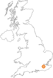 map showing location of Tandridge, Surrey