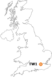 map showing location of TW1