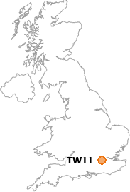 map showing location of TW11