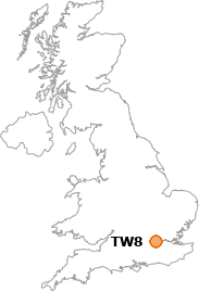 map showing location of TW8