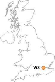 map showing location of W3